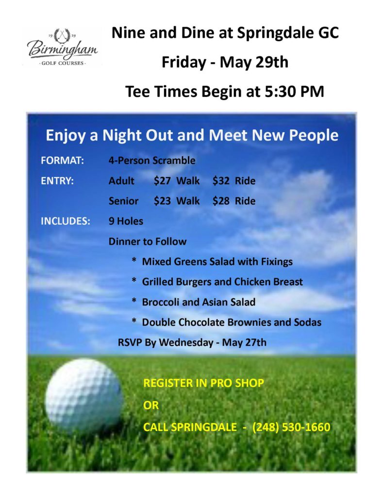 Nine and Dine @ Springdale Golf Course   Bloomfield Township   Michigan   United States