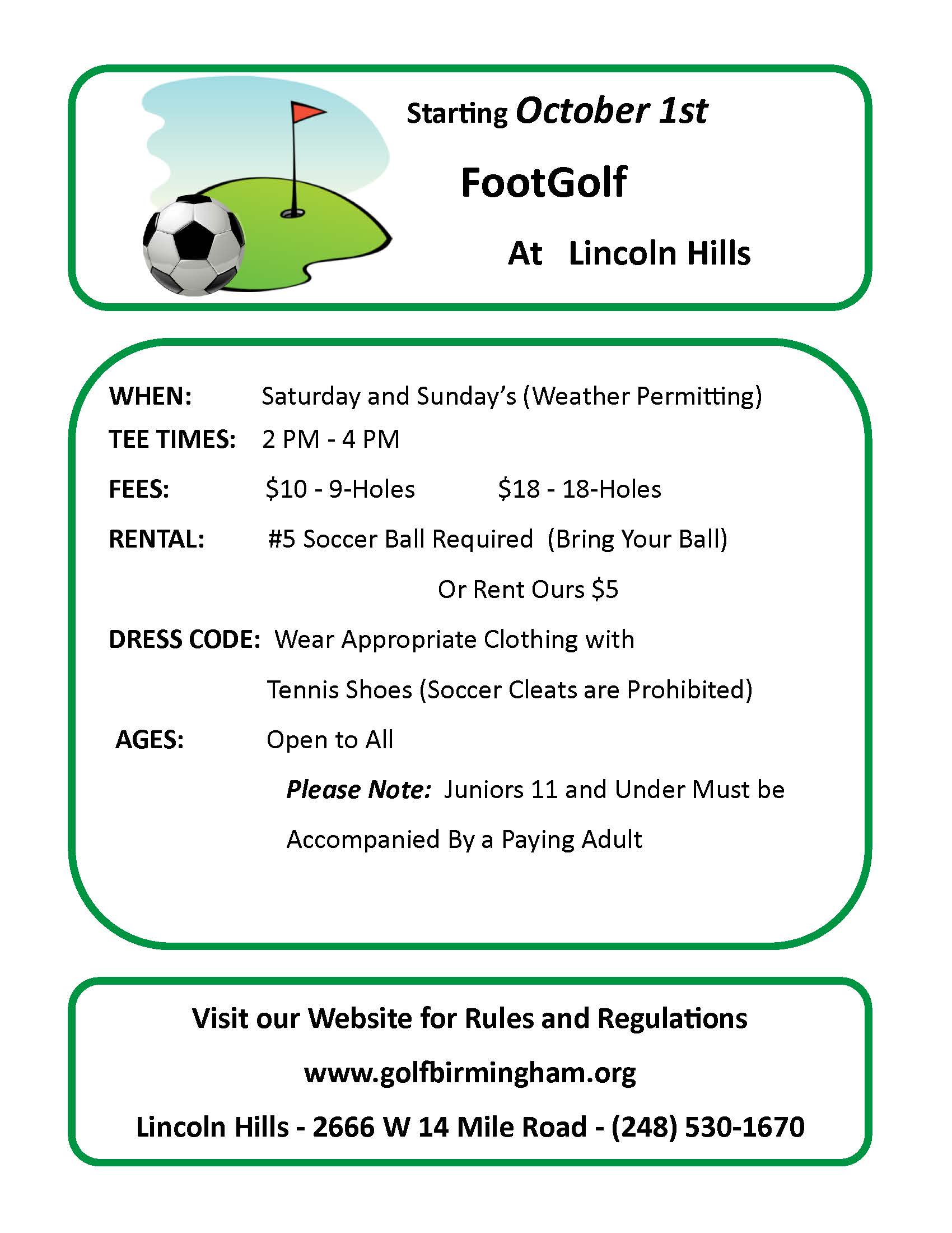 FootGolf @ Lincoln Hills Golf Course | Birmingham | Michigan | United States