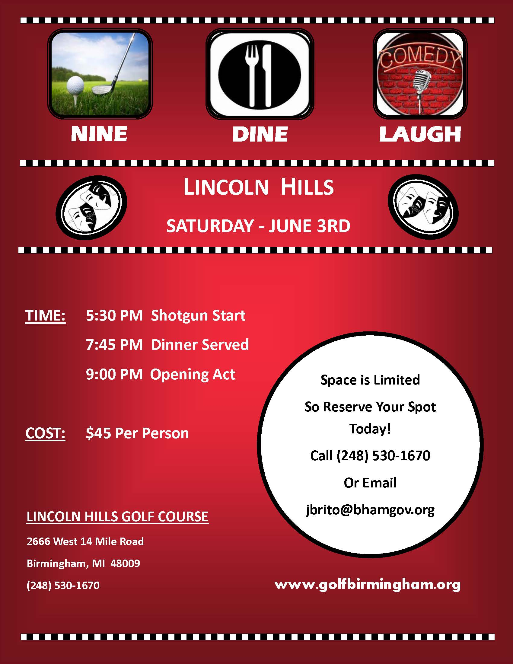 Nine, Dine & Laugh @ Lincoln Hills Golf Course | Birmingham | Michigan | United States