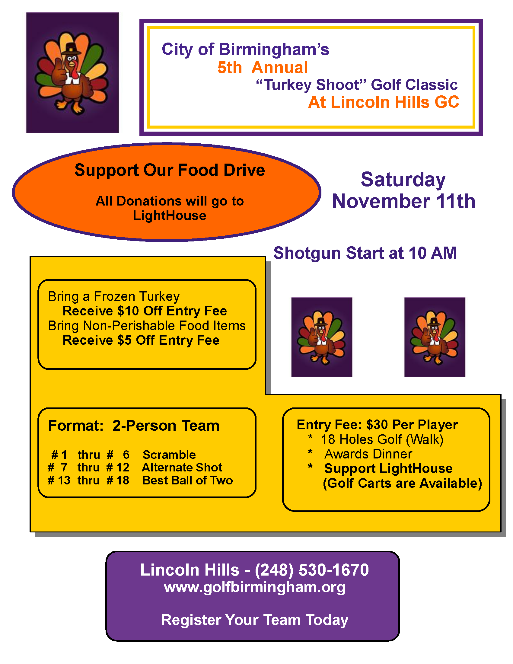 5th Annual Turkey Shoot @ Lincoln Hills Golf Course | Birmingham | Michigan | United States