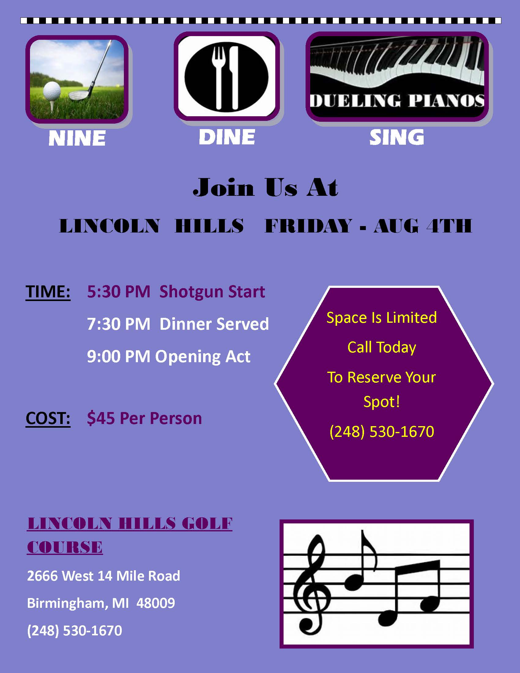 Nine, Dine & Sing @ Lincoln Hills Golf Course | Birmingham | Michigan | United States